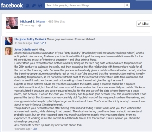 Inconvenient comment deleted from Michael Mann's Facebook Page