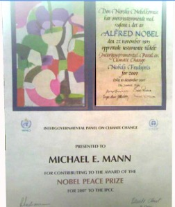 Mann's IPCC certificate displayed in his office proving he was a helper NOT a Nobel laureate